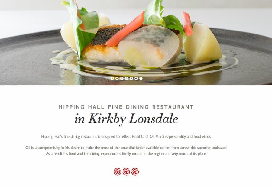 Hipping Hall restaurant website screenshot