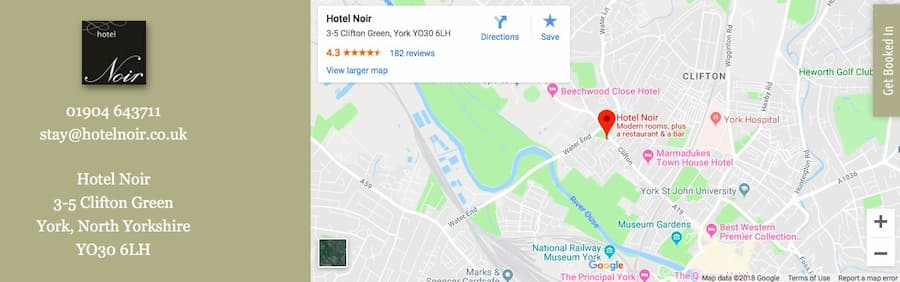 Hotel Noir Google Maps location