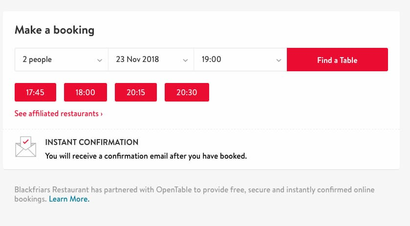 OpenTable booking form