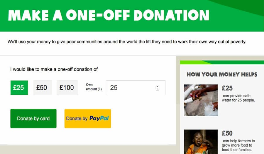 Oxfam donations website