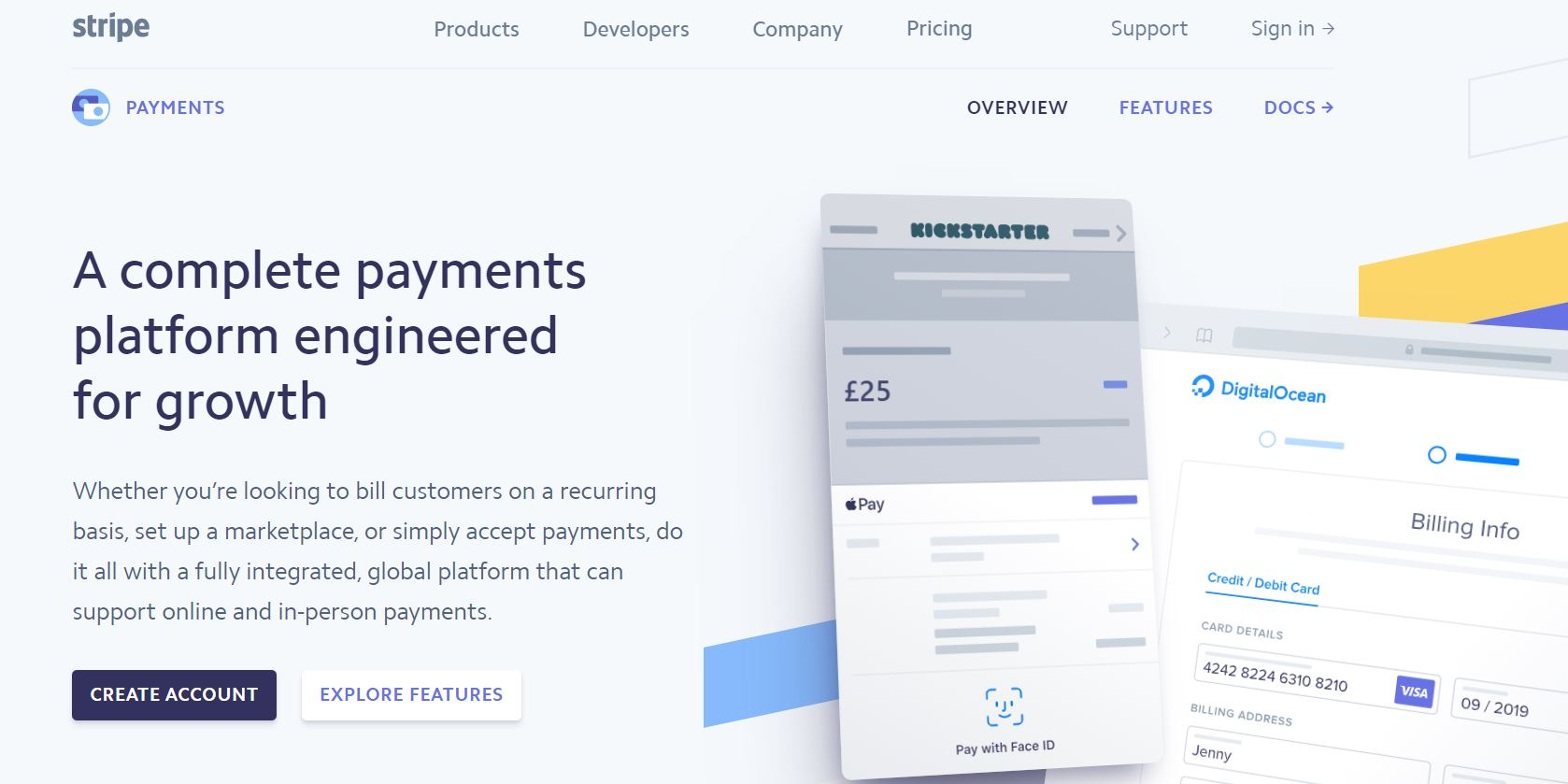 Screenshot of Stripe website