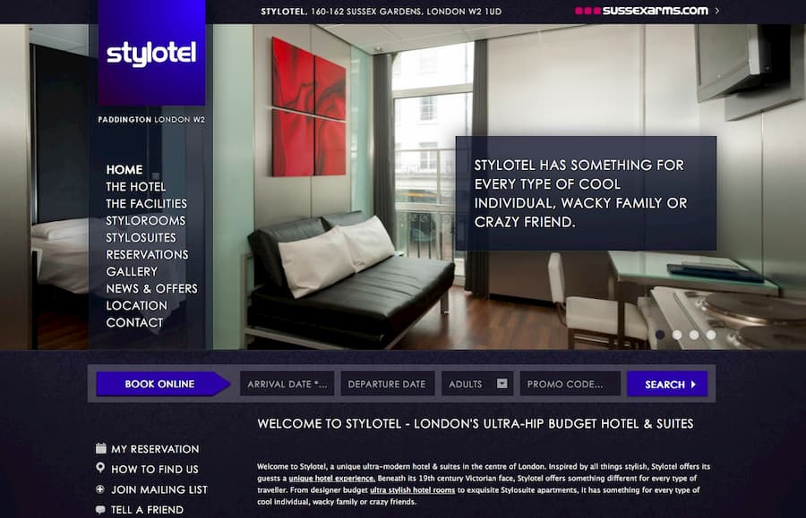 Screenshot of Stylotel website