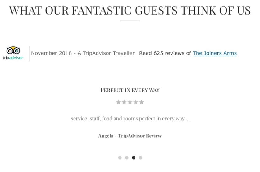 The Joiners Arms online reviews
