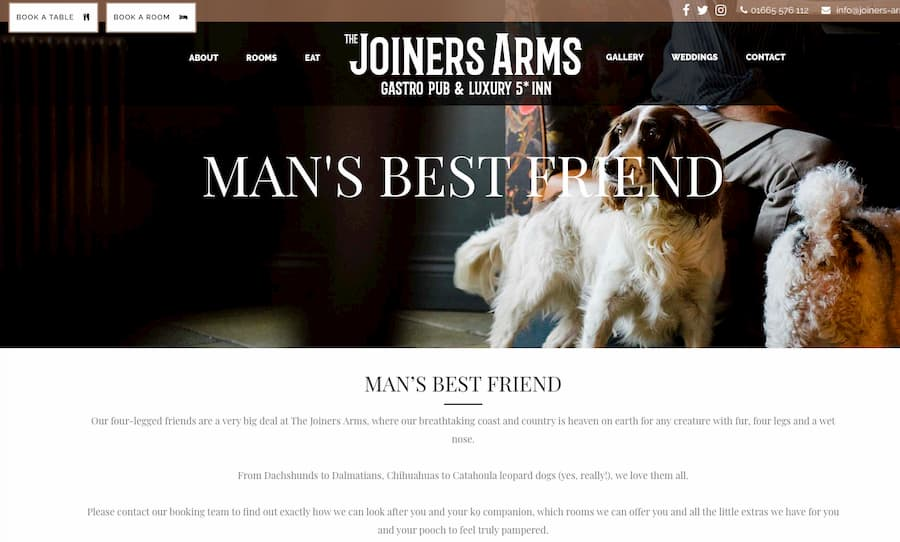 The Joiners Arms homepage screenshot