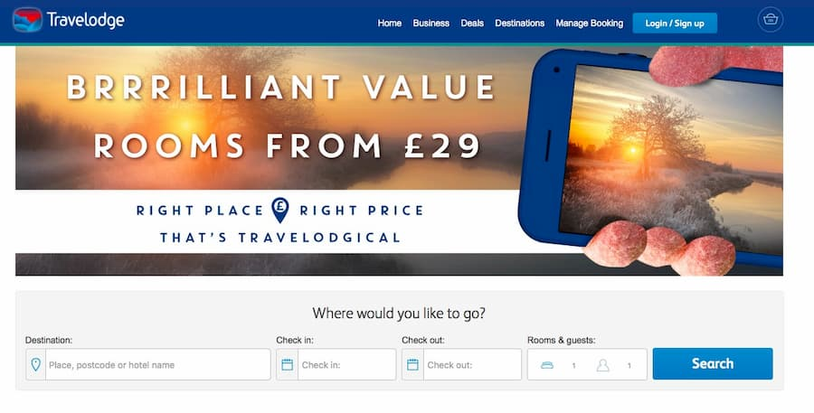 Travelodge website screenshot