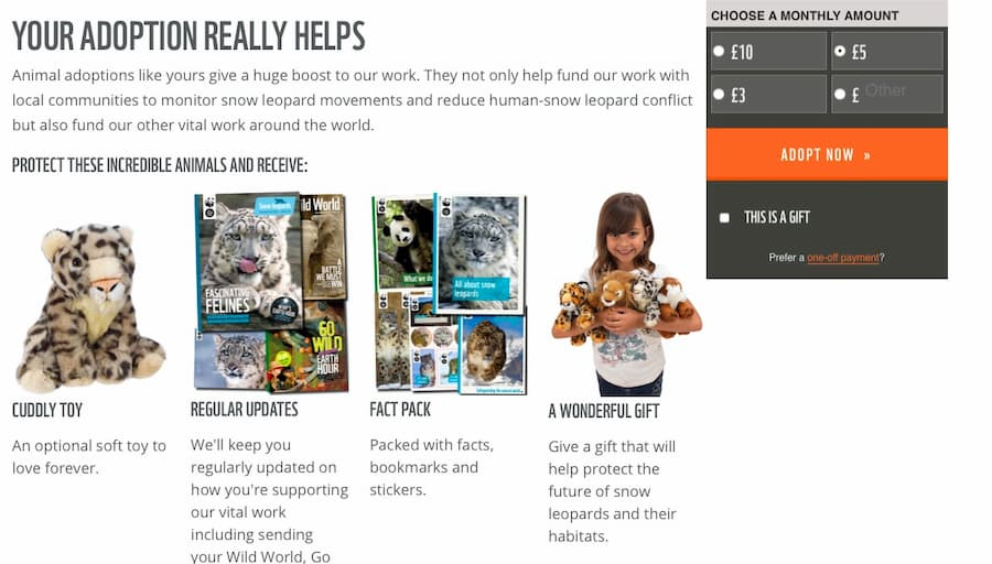 WWF adoption page screenshot