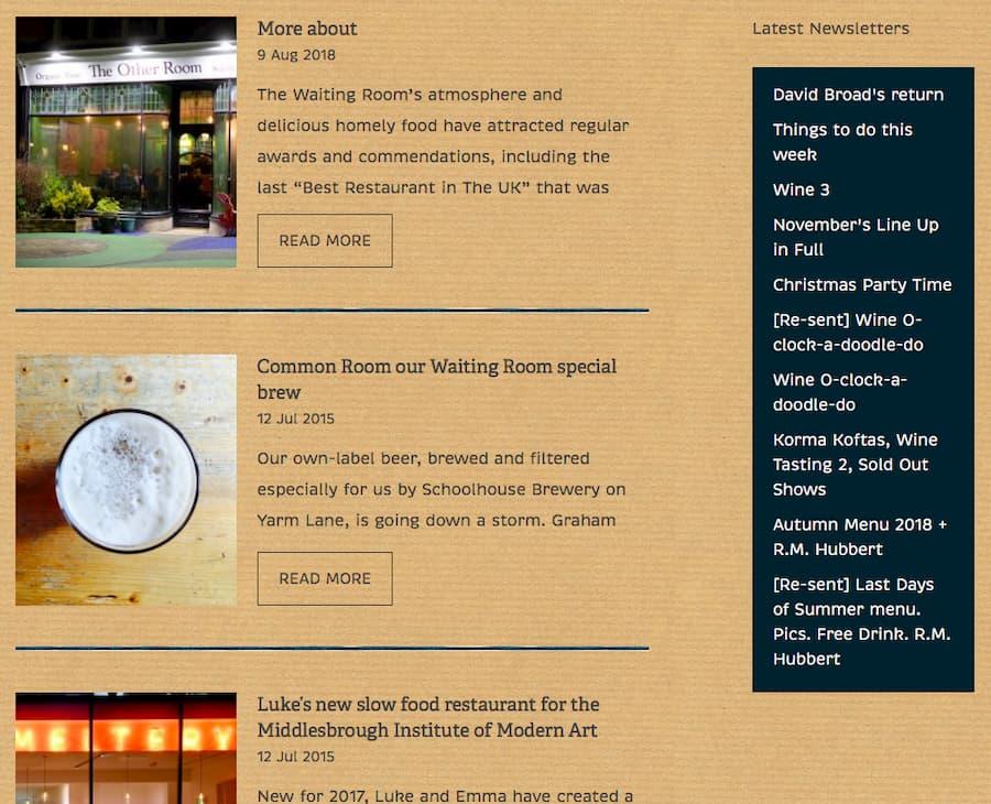 Waiting Room restaurant newsletter screenshot