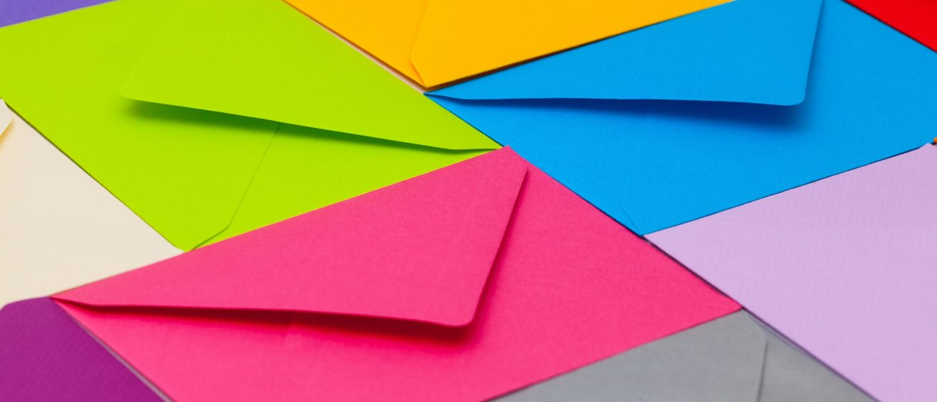 brightly coloured envelopes