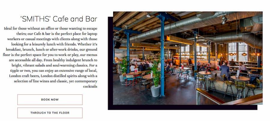 Smiths cafe and bar website screenshot