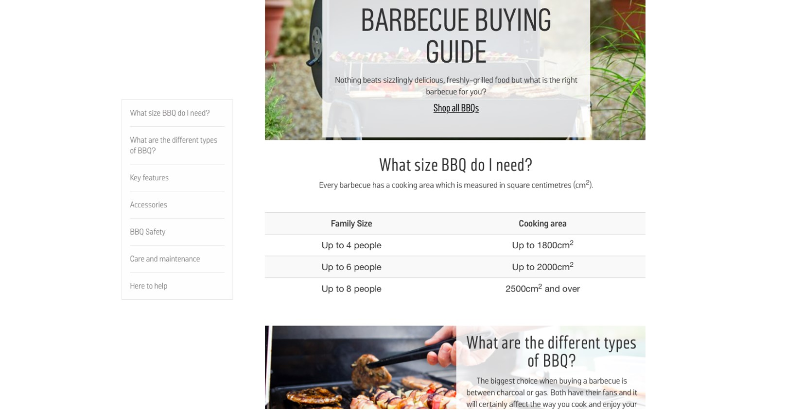BBQ buying guide webpage