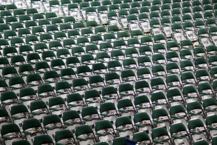 green chairs in line