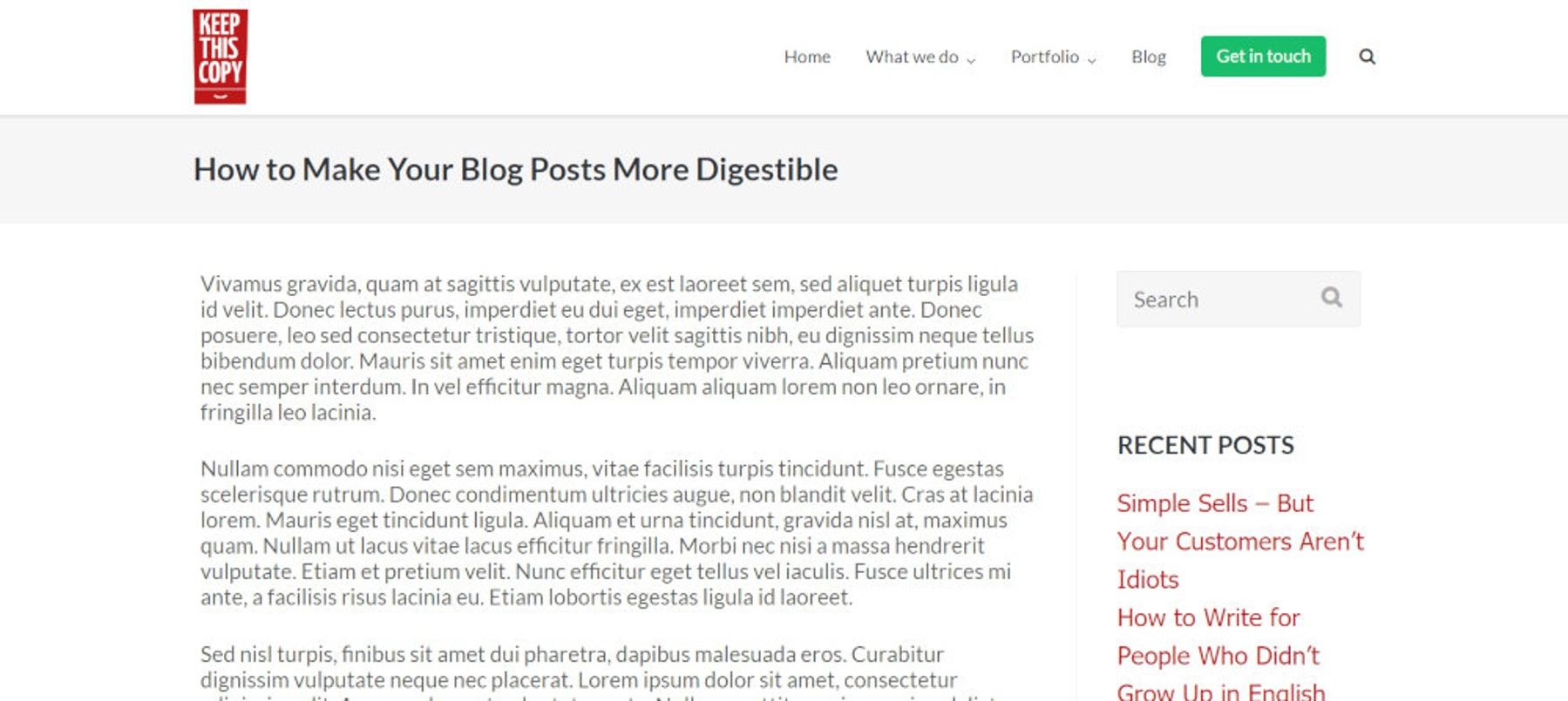 blog layout screenshot