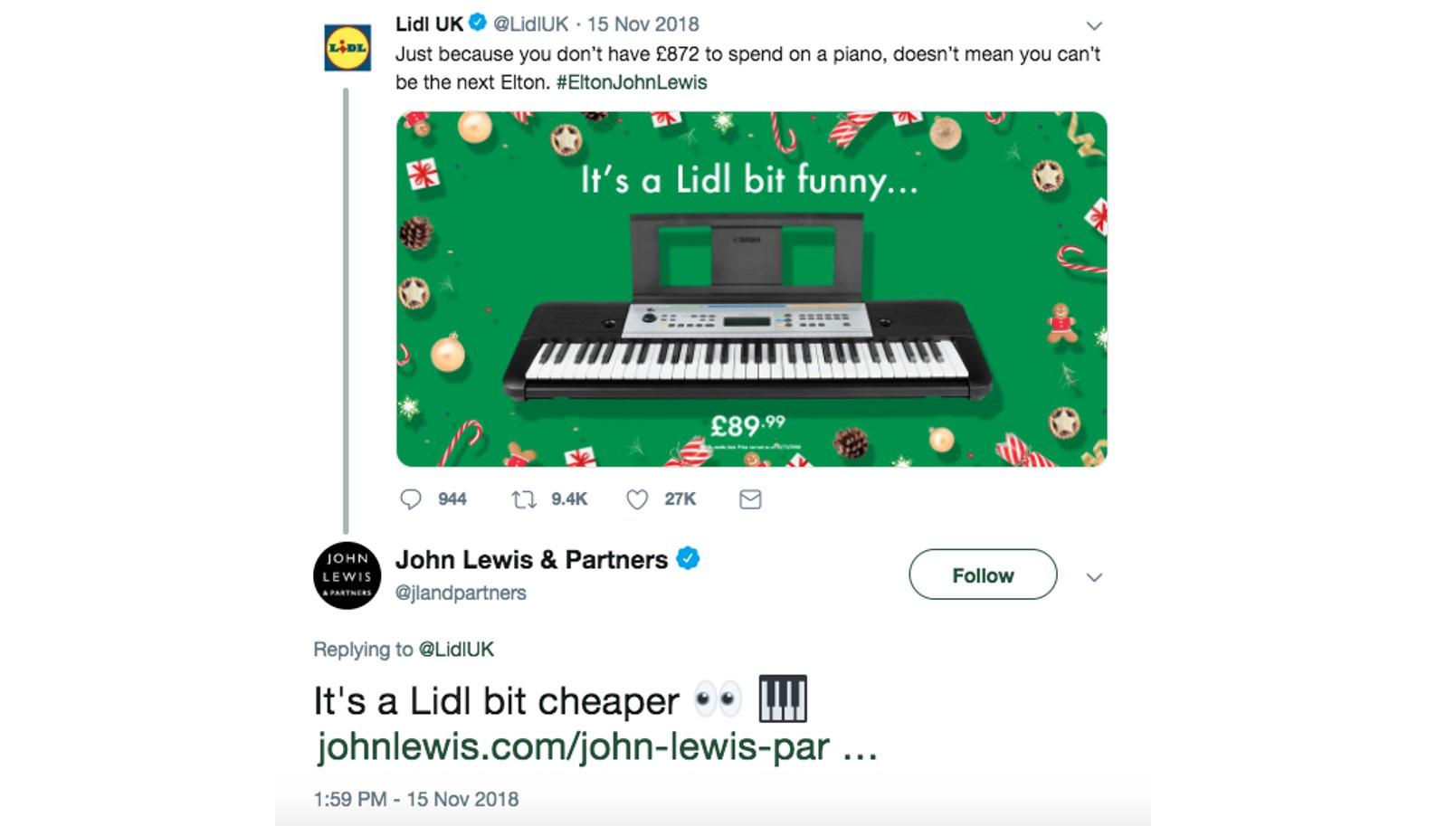 Tweet between Lidl and John Lewis