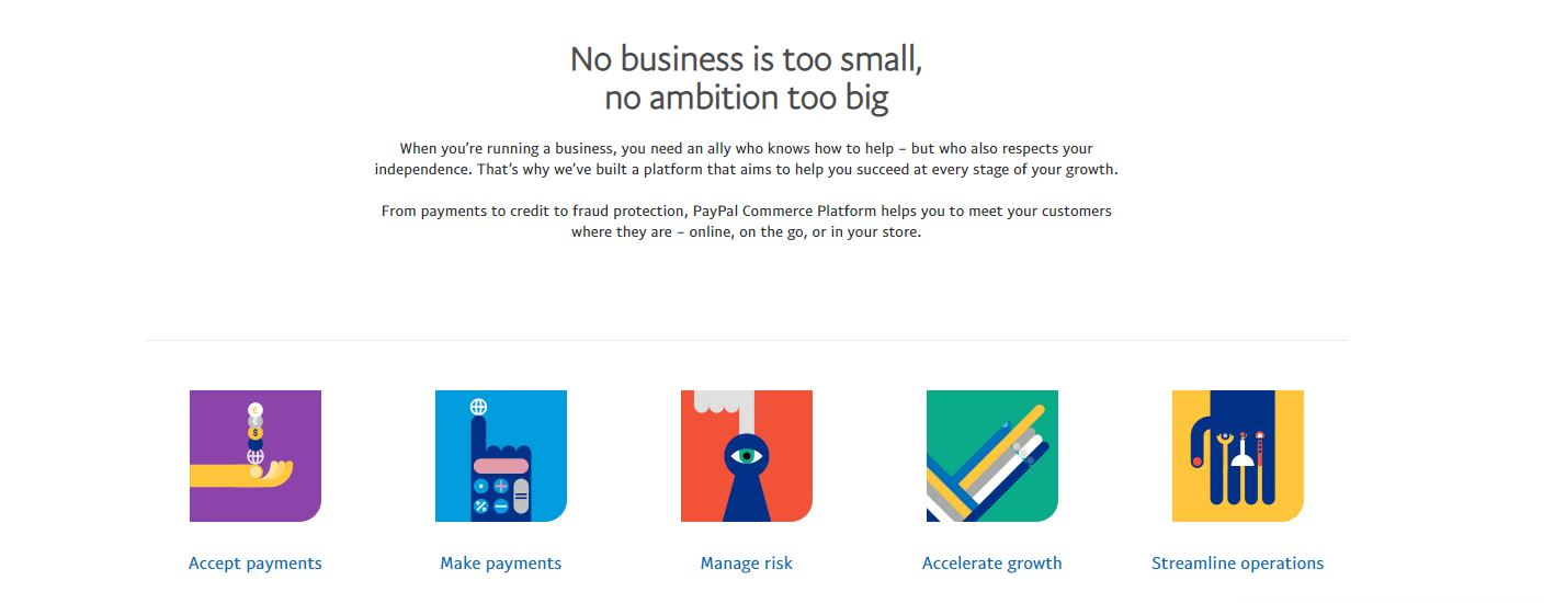 PayPal for business website