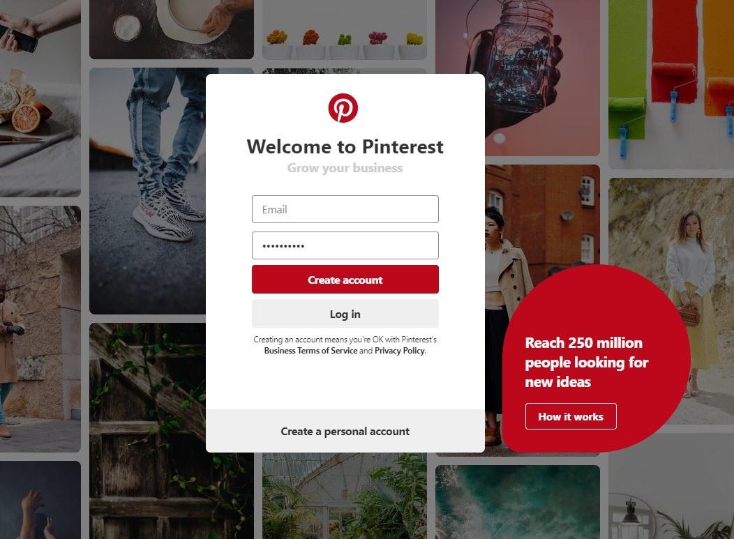 Pinterest login screen