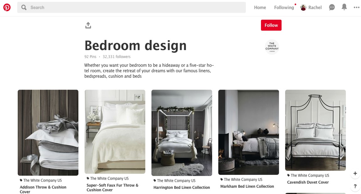Pinterest bedroom design board