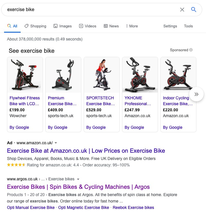 Google shopping ads for exercise bike