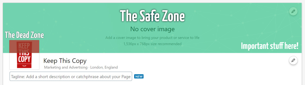 LinkedIn cover photo safe zone diagram