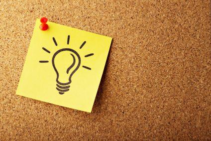 Lightbulb on pin board