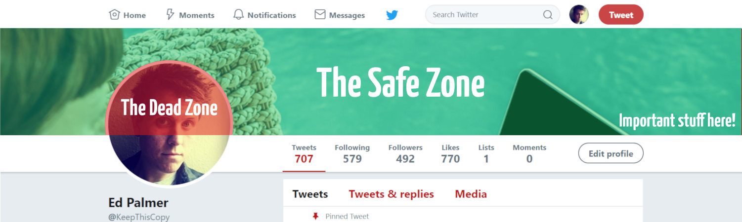 Twitter header safe zone diagram