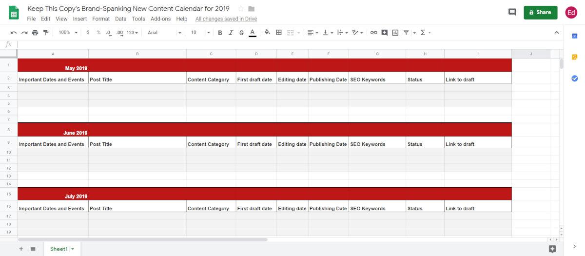 building an content calendar