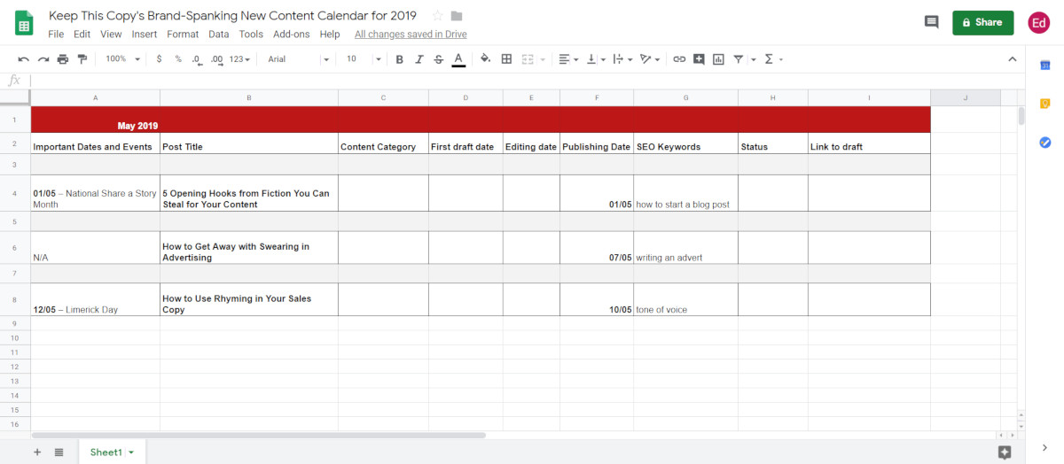 Adding events to content calendar