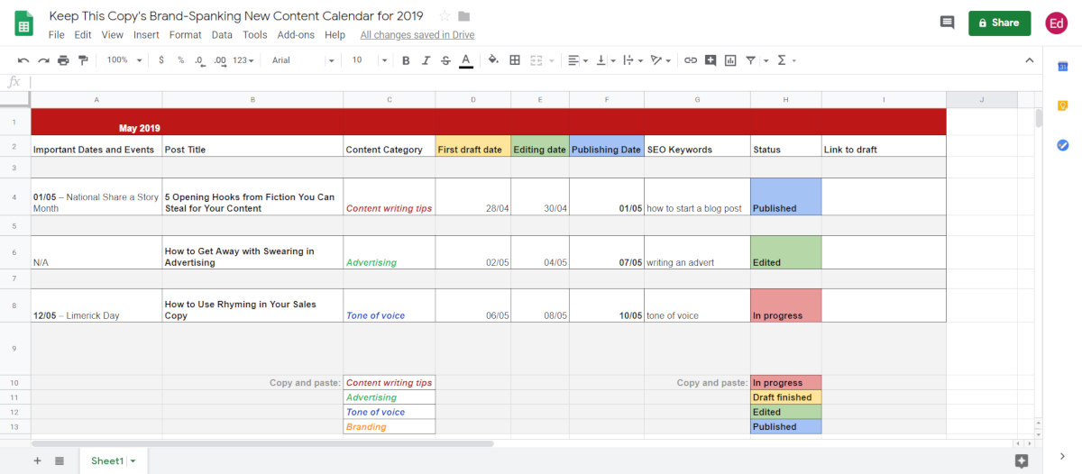 colour coding editorial calendar