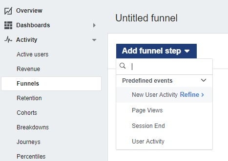 Adding Funnel on Facebook Analytics