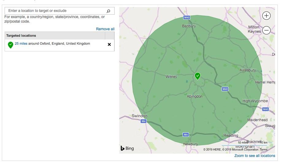 Bing location targeting