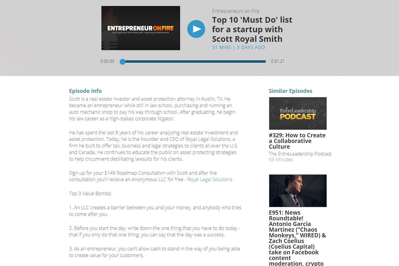 Entrepreneur on Fire webpage