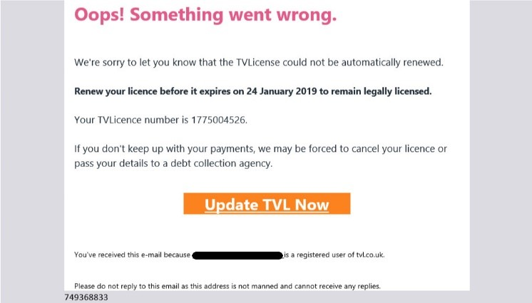 TV license phishing scam