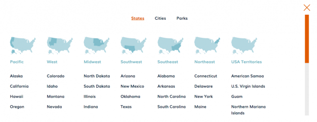 Screenshot of USA states from USA trip planner