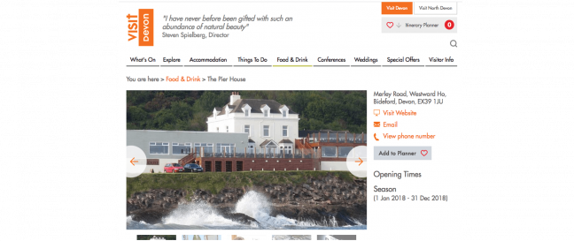 Visit Devon website screenshot