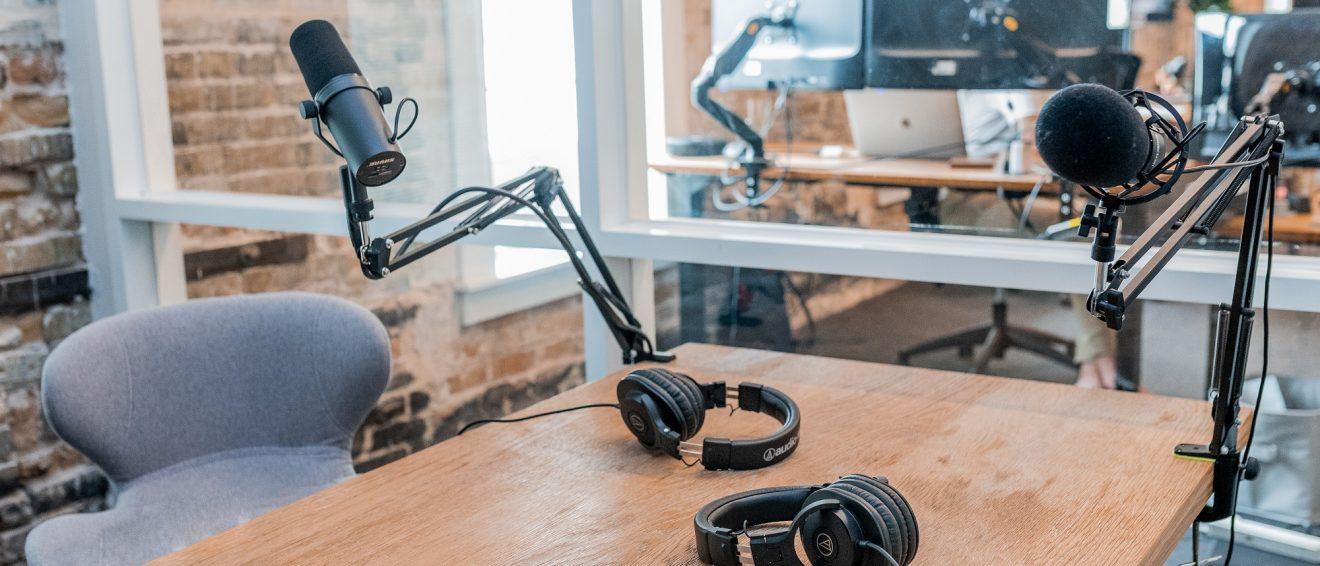 setup for recording a podcast