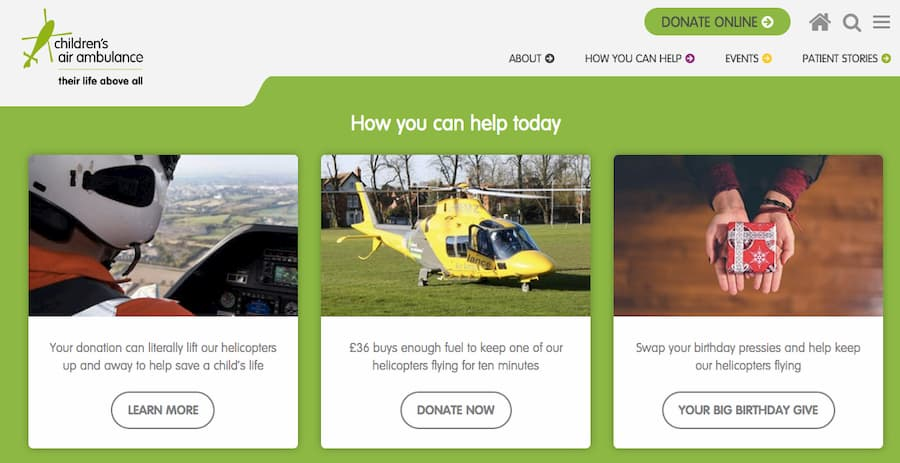 Children's Air Ambulance donate screenshot