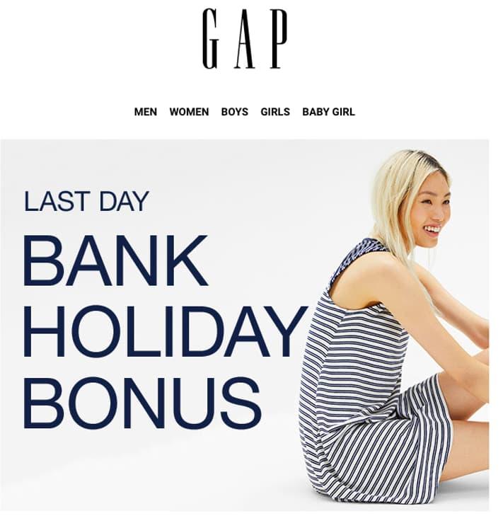 GAP bank holiday sale screenshot