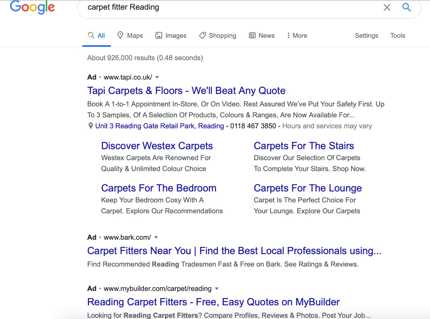 Google Ads carpet fitter