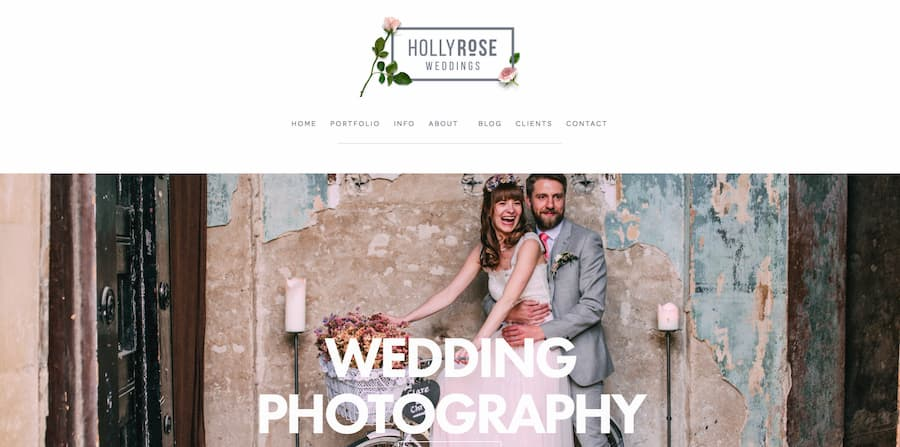 Holly Rose photography website screenshot