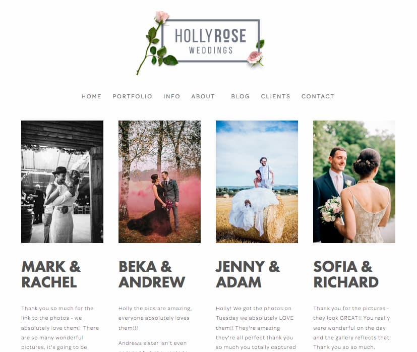 Holly Rose wedding photography website screenshot