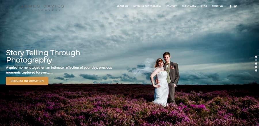 James Davies photography homepage screenshot