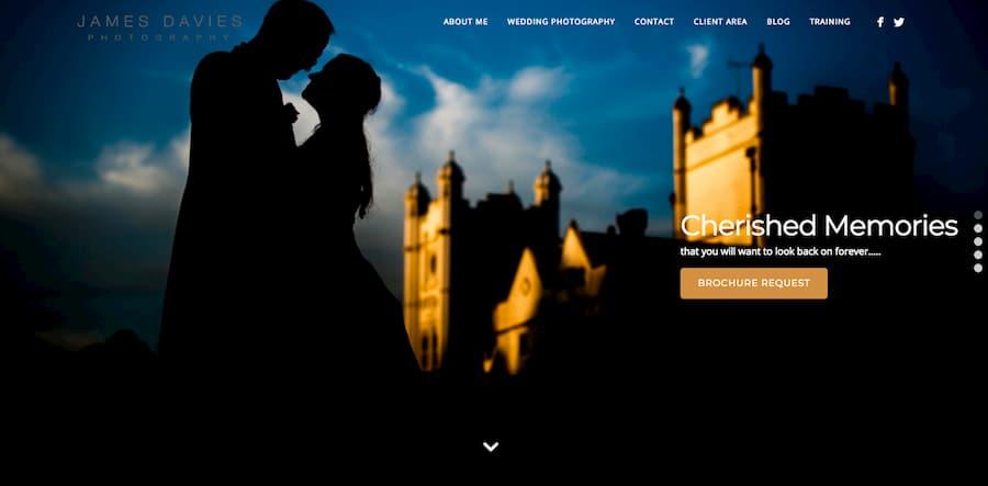 James Davies photography website screenshot