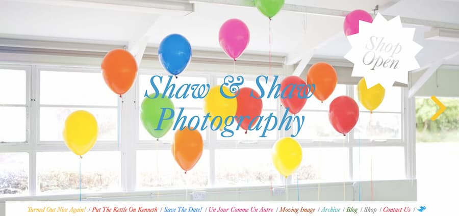 Shaw and Shaw photography website screenshot