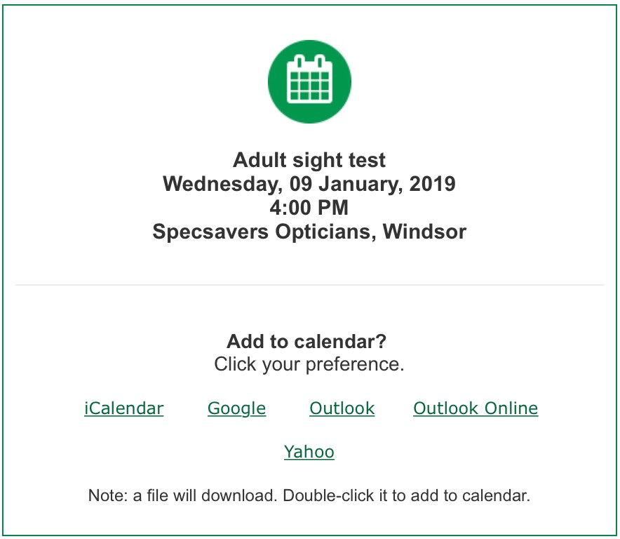 Specsavers Opticians appointment reminder email