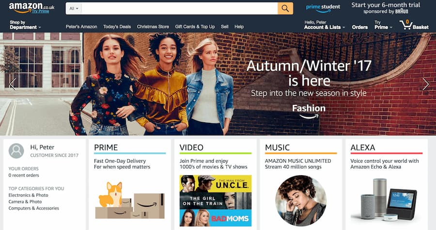 Screenshot from Amazons homepage