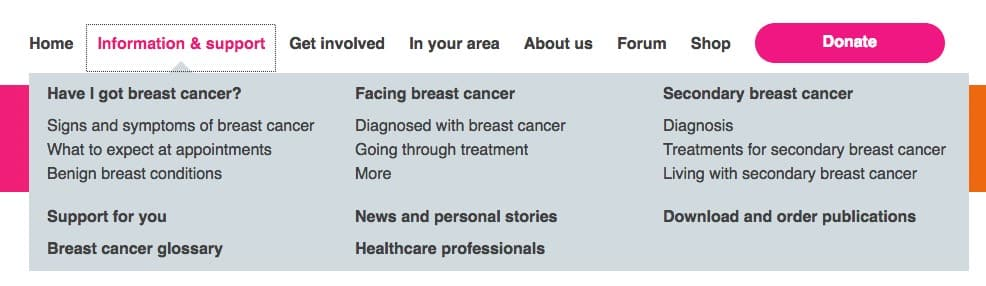 Breast cancer care navigation bar screenshot