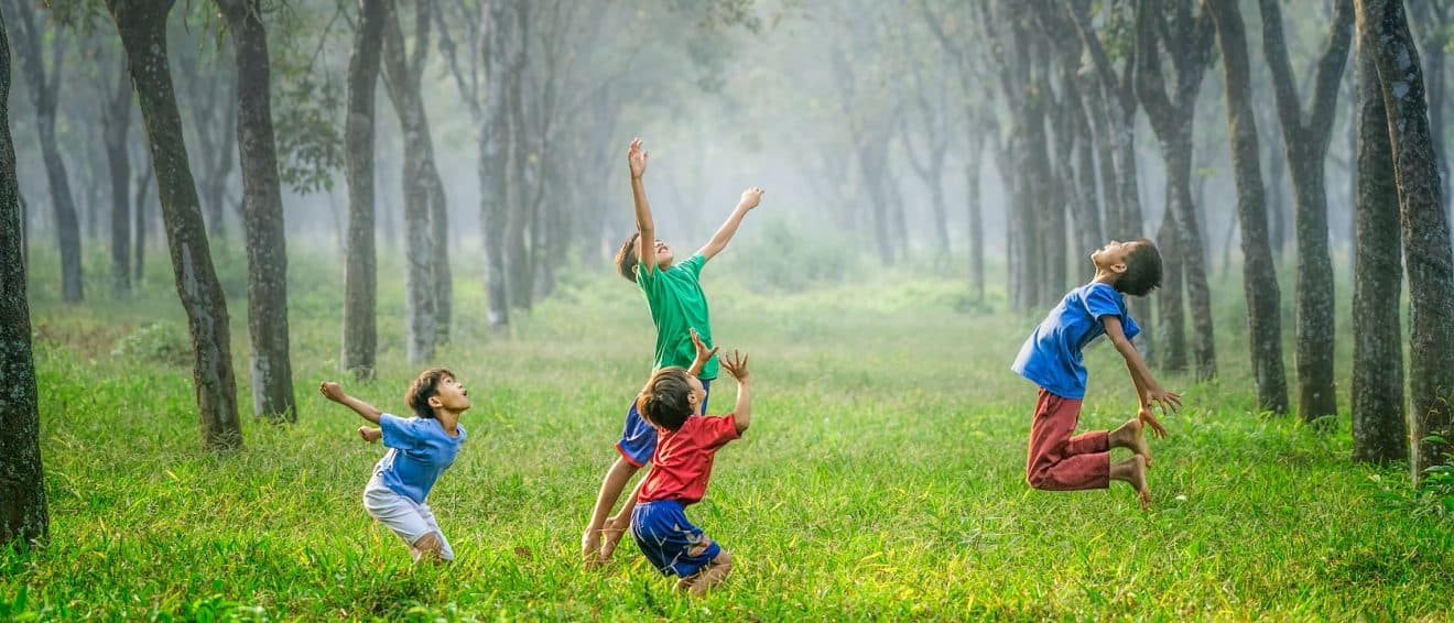 Happy children playing in forest