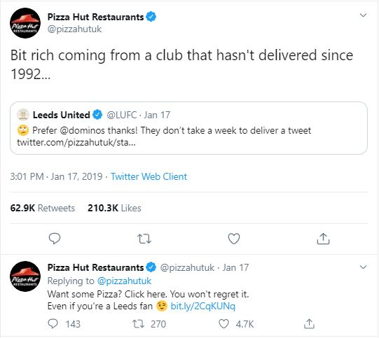 Pizza Hut tweets