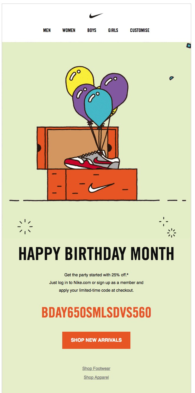 birthday email marketing example