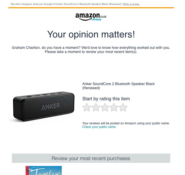 product review email