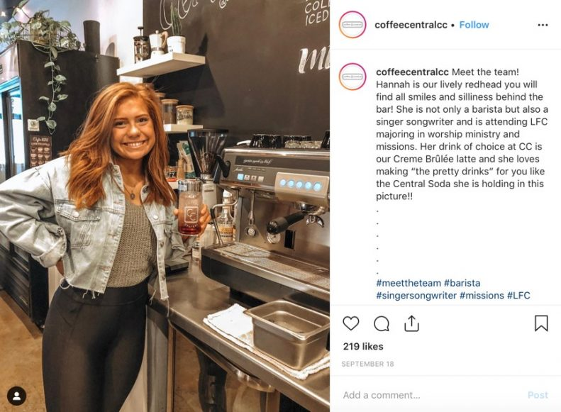 Coffee Central Instagram post